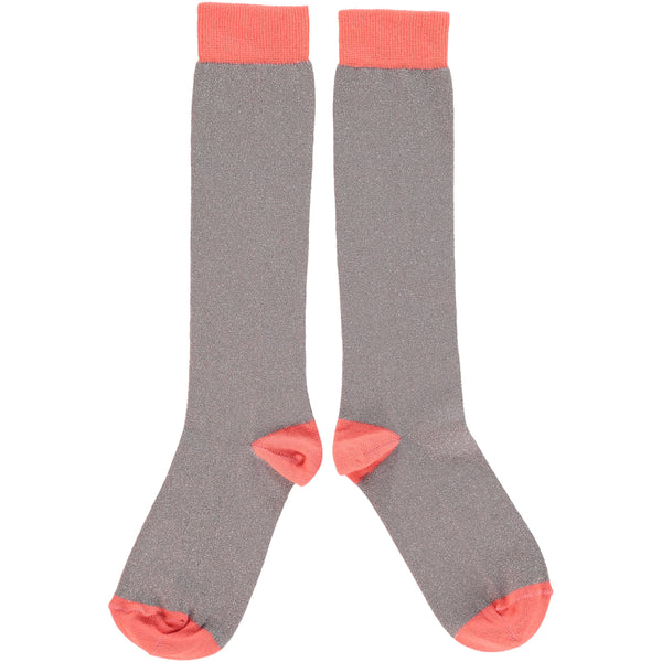WOMENS COTTON KNEE HIGH SOCKS - GREY GLITTER