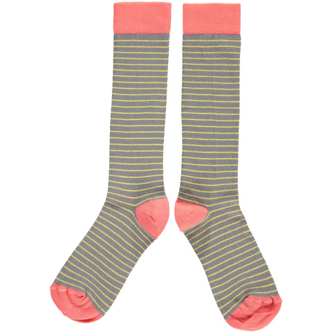 WOMENS COTTON KNEE HIGH SOCKS - GREY STRIPE