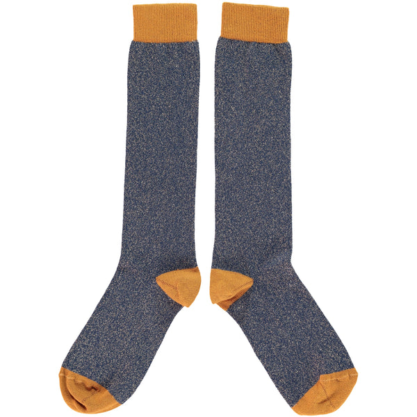 WOMENS COTTON KNEE HIGH SOCKS - NAVY GLITTER