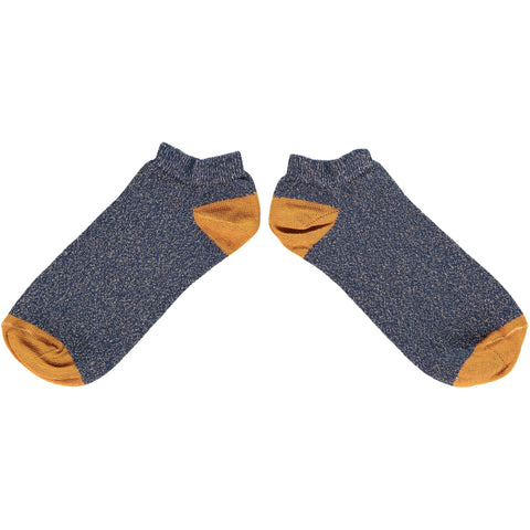 WOMENS COTTON SPORTS SOCKS - NAVY GLITTER