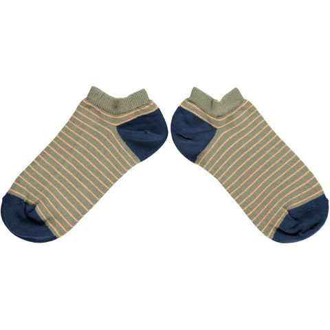 WOMENS COTTON SPORTS SOCKS - SAGE STRIPE