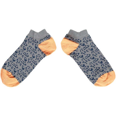 Ladies Navy Leopard Cotton Sports Socks
