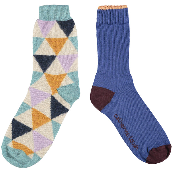 Women's Cotton & Wool Sock Set - Electric Blue & Triangles