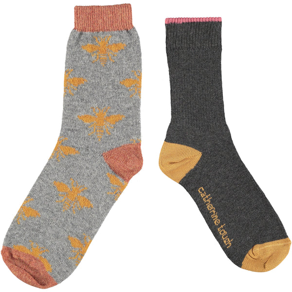Women's Cotton & Wool Sock Set - Charcoal & Bee