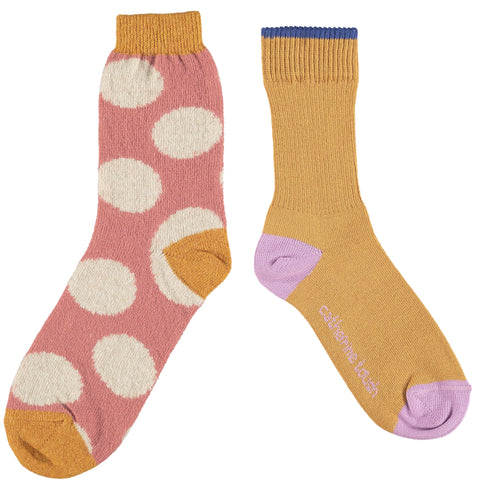Women's Cotton & Wool Sock Set - Golden & Blush Spot