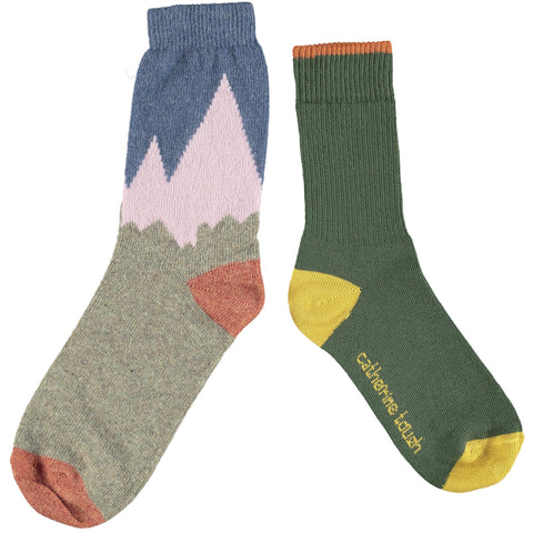 WOOL & COTTON SOCK SET - LADIES - GREEN & MOUNTAINS