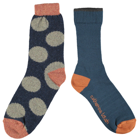 WOOL & COTTON SOCK SET - LADIES - NAVY & NAVY BIG SPOT