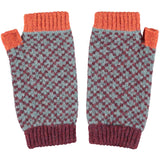 Women's Sea Green & Aubergine Cross Lambswool Wrist Warmers