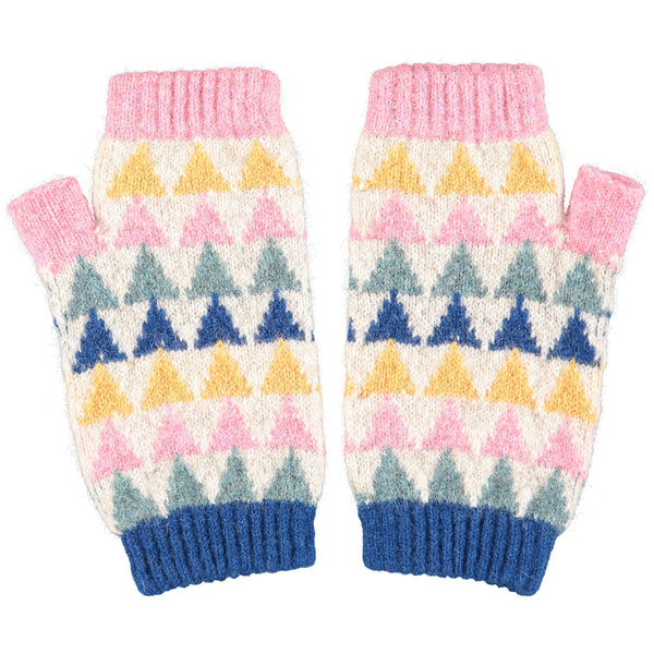 Women's Triangle Pattern Lambswool Wrist Warmers