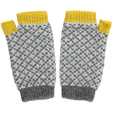 Women's Yellow &  Charcoal Cross Wrist Warmers
