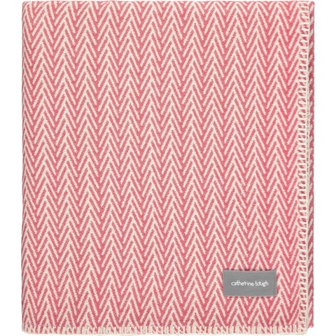 Watermelon Herringbone Organic Cotton Throw