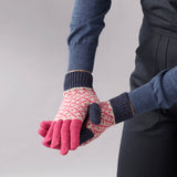 Women's Navy & Pink Cross Lambswool Gloves