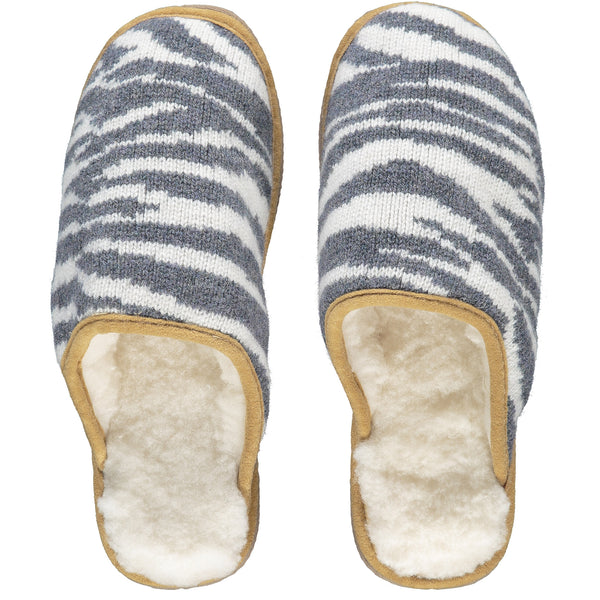 Zebra Print Lambswool & Sheepskin Slippers