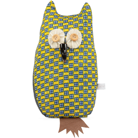 yellow afro owl lavender filled doorstop