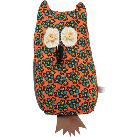 afro owl doorstop orange