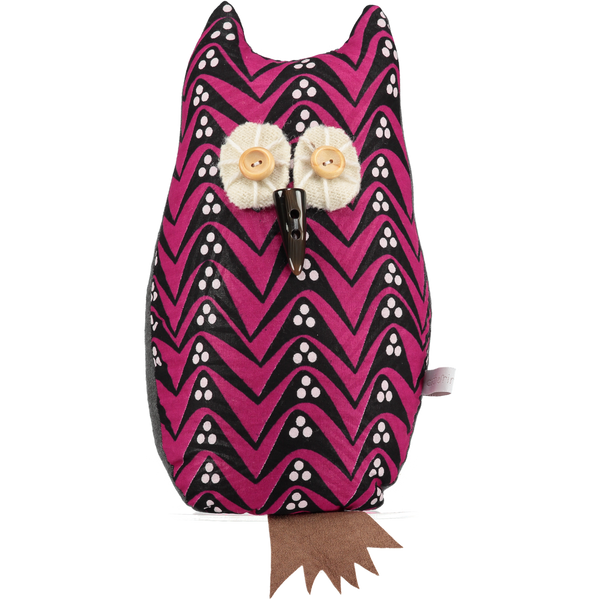 afro owl door stop lavender filled pink