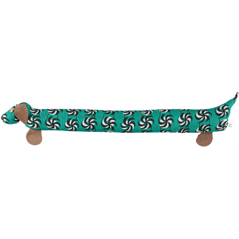 green dog draught excluder