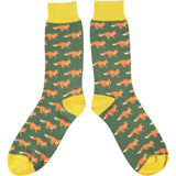 Men's Green Running Fox Cotton Ankle Socks