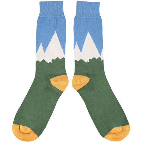 Men's Dark Green & Denim Mountains Cotton Ankle Socks