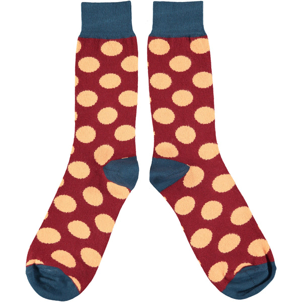 Men's  Red & Peach Cotton Ankle Socks