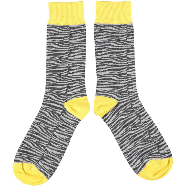 Men's Grey & Yellow Zebra Print Cotton Ankle Socks