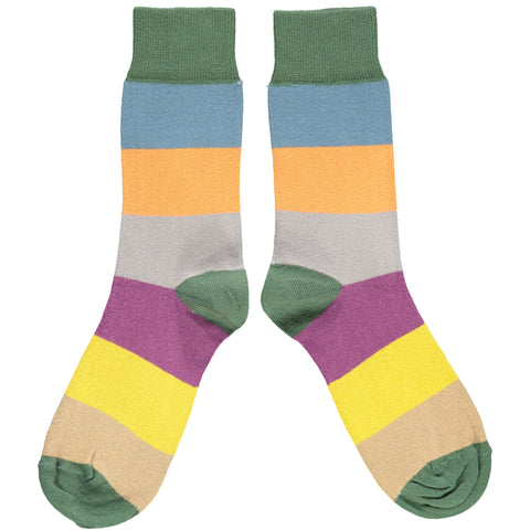 ANKLE SOCKS - cotton - ladies  - colour block - green & plum
