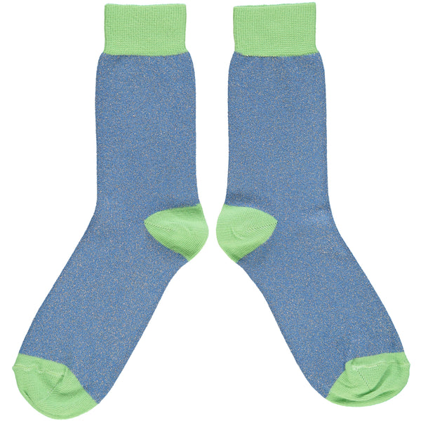 ANKLE SOCKS - cotton - ladies  - glitter - denim/mint