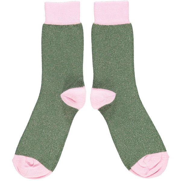 Ladies Dark Green Glitter Cotton Ankle Socks