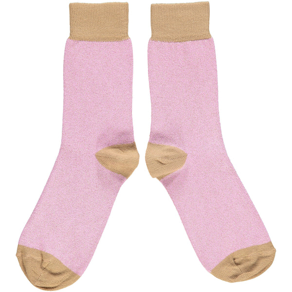 ANKLE SOCKS - cotton - ladies  - glitter - lilac/copper