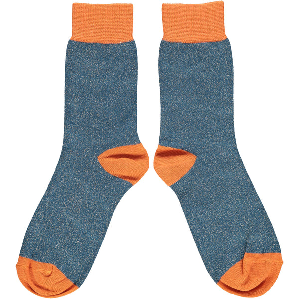 Ladies Navy & Orange Glitter Cotton Ankle Socks
