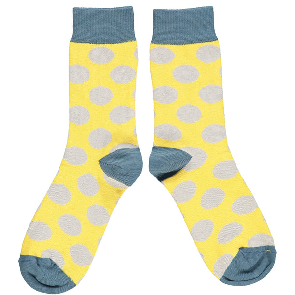 ANKLE SOCKS - cotton - ladies  - large spot - yellow/grey
