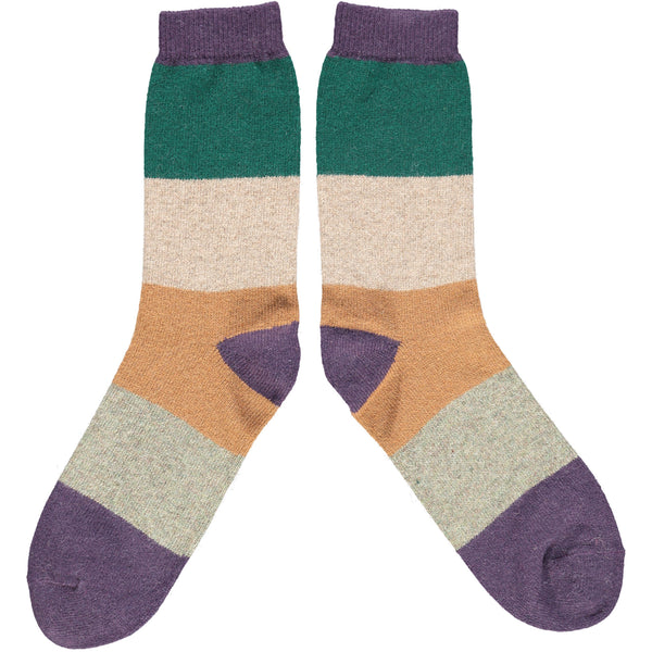 Men's Purple & Green Colour Block Lambswool Ankle Socks