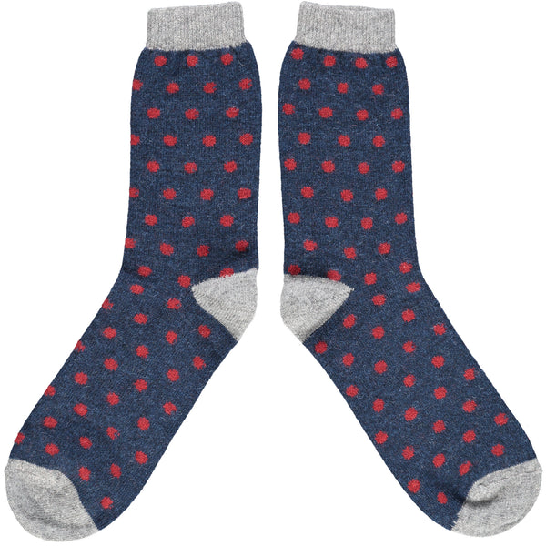 Men's Navy & Red Dots Lambswool Ankle Socks