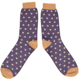 Men's Purple & Sage Dots Lambswool Ankle Socks