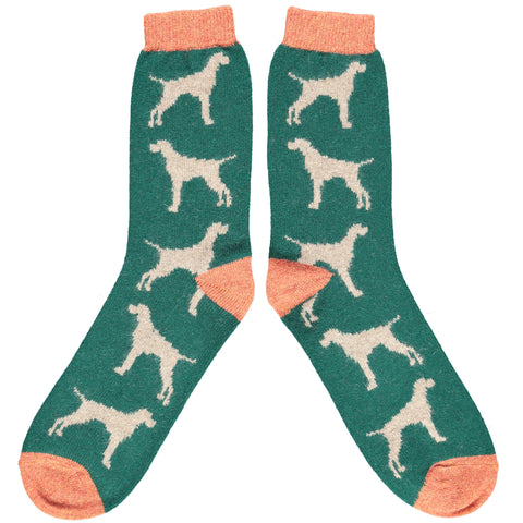 Men's Green Hound Lambswool Ankle Socks