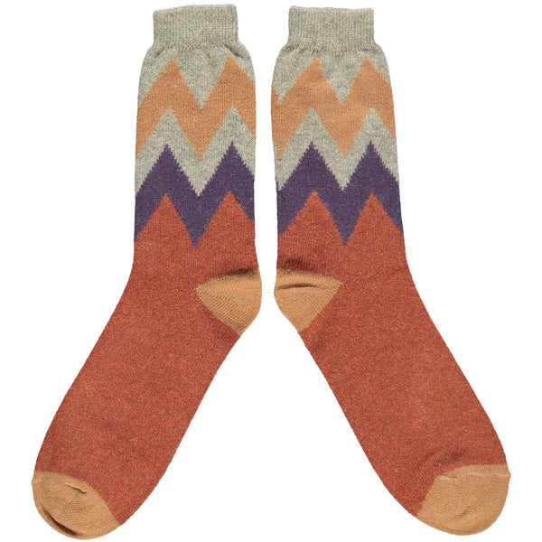 Men's Terracotta Zigzag Lambswool Ankle Socks