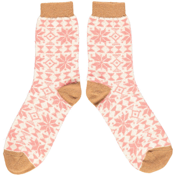 Ladies Copper & Blush Pink Fair Isle Lambswool Ankle Socks
