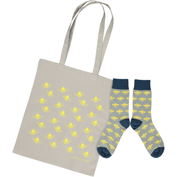 Bee Shopper & Socks Gift Set