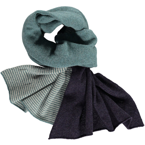 block stripe sage green lambswool scarf