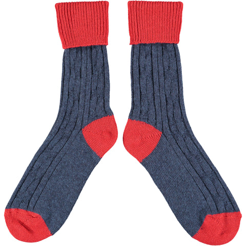 Navy & Red Cashmere Soft Socks
