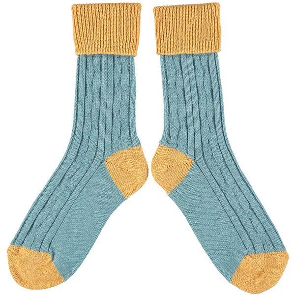 Teal & Gold  Cashmere Soft Socks