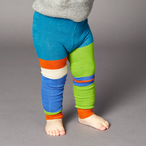 Kids' Cotton Grass Green & Blue Colour Block Footless Tights