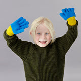 Kids' Lambswool Textured Blue Knitted Gloves