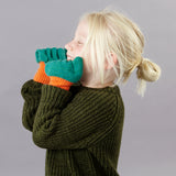 Kids' Lambswool Textured Green Knitted Gloves