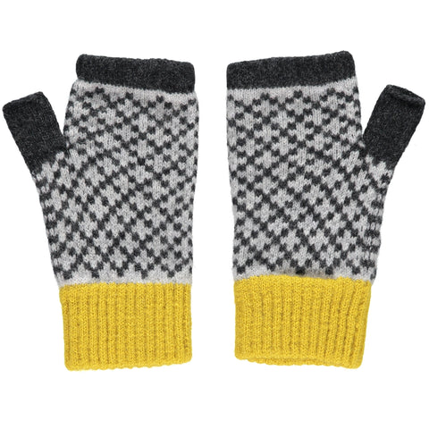 catherine tough grey cross lambswool wrist warmers