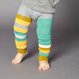 Kids' Cotton Jade & Pumpkin Colour Block Footless Tights