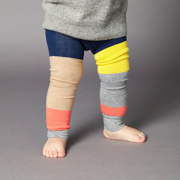 kids colour block navy footless tights