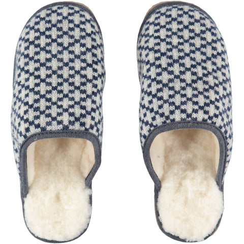 catherine tough navy cross knit and sheepskin slippers