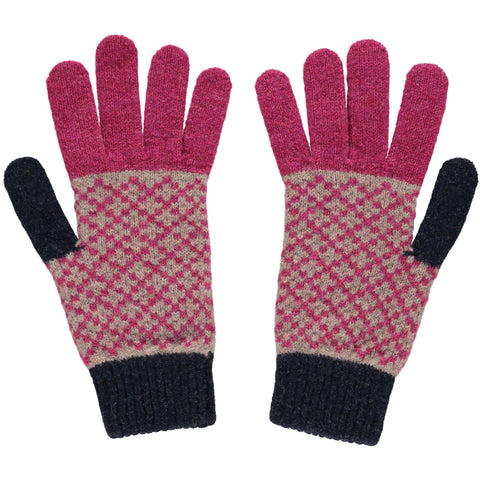 catherine tough plum cross lambswool gloves