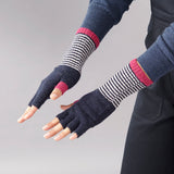 catherine tough navy stripe lambswool fingerless gloves